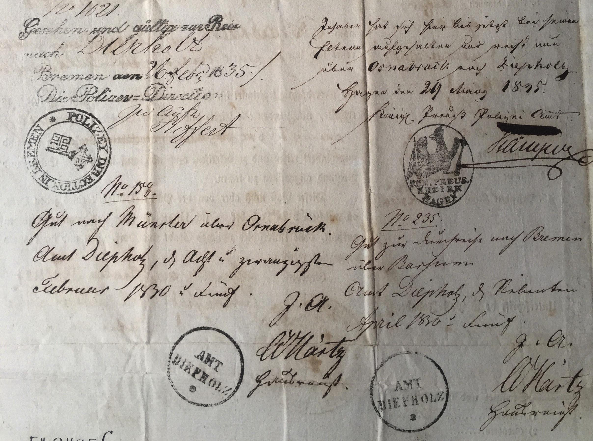 Prussian passport visas
