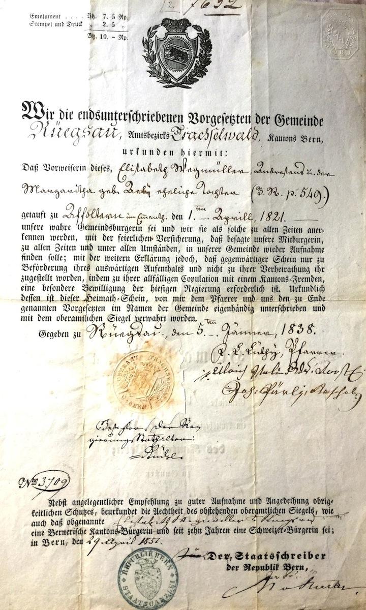 Swiss citizenship card