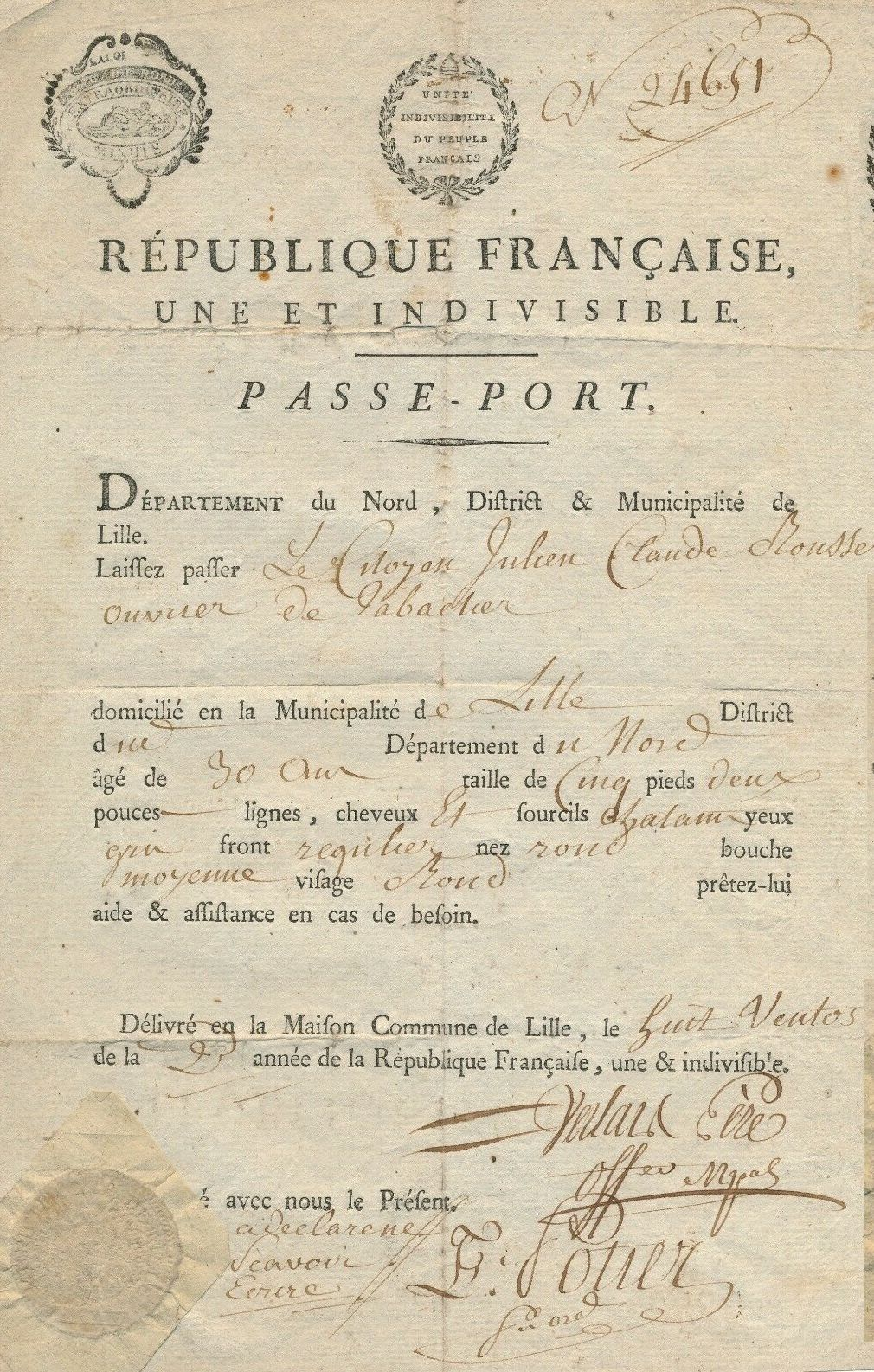 1794 Passeport france